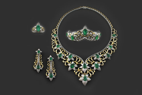 2 Tone Emerald and Diamonds Designer Set