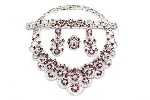 White Gold with Diamond and Baguette Cut Ruby Flower Designed Full Set