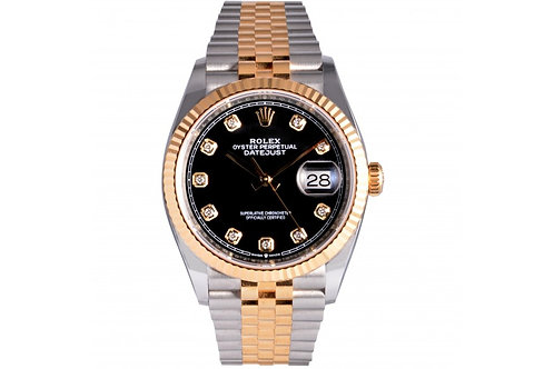 Rolex Datejust Black With Diamond Dial 36mm Steel & Yellow Gold