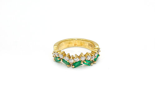 Baguette Cut Emerald and Diamond Ring