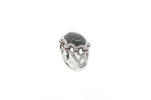 Moonstone, Ruby and Diamonds Ring