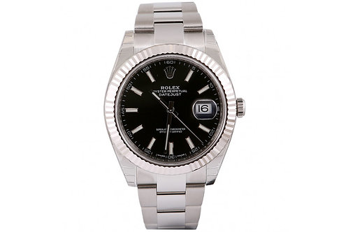 Rolex Datejust Black Dial 41mm Steel & White Gold