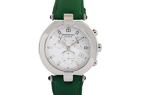 Raymond Veil Steel with Chronograph Green Leather Strap