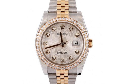 Rolex Datejust Jubilee Dial 36mm Diamonds, Steel & Yellow Gold