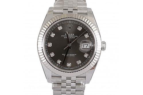Rolex Datejust Grey Diamond Dial 41mm Steel & White Gold