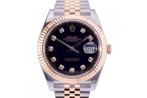 Rolex Datejust Black Diamond Dial 41mm Steel & Yellow Gold