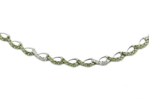 Green Tourmaline and Diamond Necklace