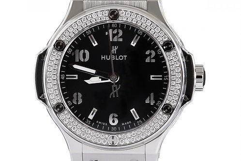 Hublot Big Bang Black Dial Diamond Bezel 38mm Steel