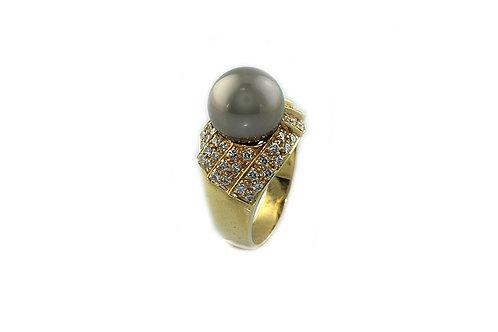 Black Pearl Diamond Ring