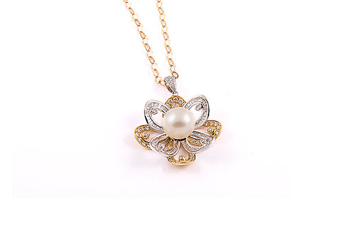 2 Tone Pearl and Diamond Flower Pendant