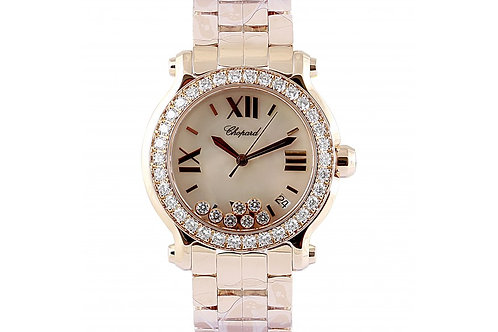 Chopard Happy Sport Mother of Pearl Dial With Floating Diamonds 36mm Rose Gold &