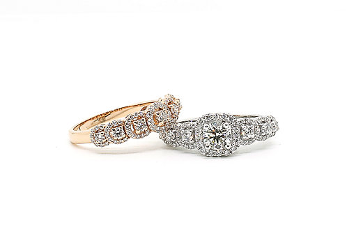 Solitaire Twin White & Rose Gold Diamond Ring