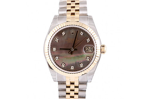 Rolex Datejust Black Mother of Pearl Dial 31mm Steel & Yellow Gold