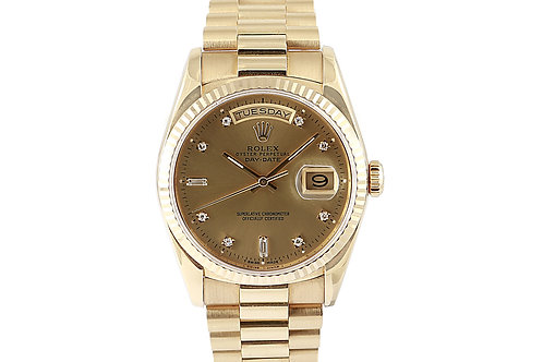 Rolex Day Date Champagne Diamond Dial Yellow Gold 36mm