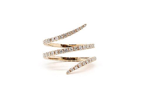 Spiral Design Rose Gold and Diamond Ring