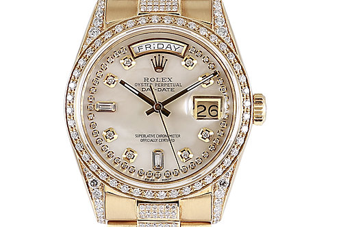 Rolex Day Date 36mm Yellow Gold with Aftermarket Diamonds & Mother of Pearl Dial