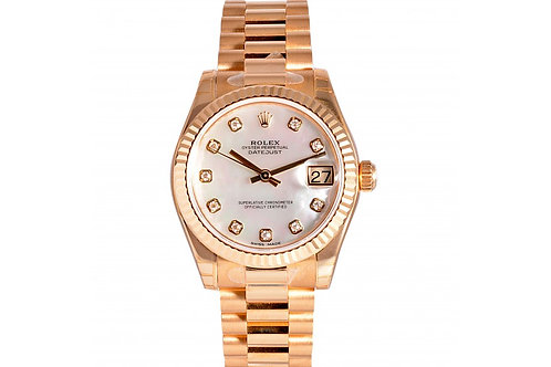 Rolex Datejust Mother of Pearl Diamond Dial 31mm Yellow Gold