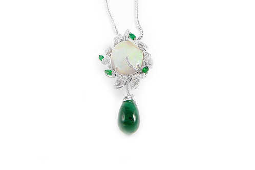 Emerald,Opal and Diamond Pendant