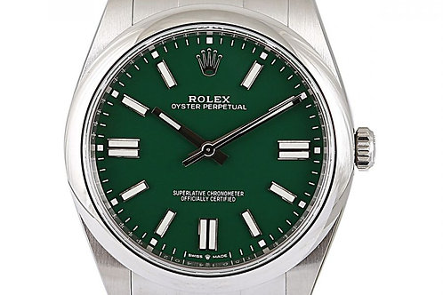 Rolex Oyster Perpetual Green Dial 41mm Steel