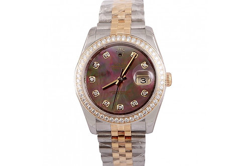 Rolex Datejust Black Mother of Pearl 36mm Diamonds, Steel & Yellow gold