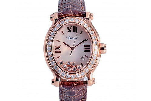 Chopard Happy Sport Oval 7 Diamonds White Mother of Pearl 30mm Rose Gold
