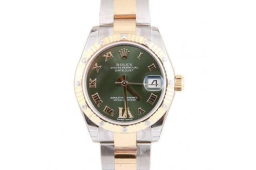 Rolex Datejust Green Roman Dial 31mm Steel, Yellow Gold & Diamonds