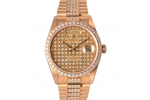 Rolex Day-Date President Champagne With Diamond Dial 36mm Yellow Gold & Diamonds