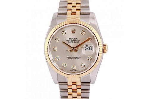 Rolex Datejust Silver Diamond Dial 36mm Steel & Yellow Gold
