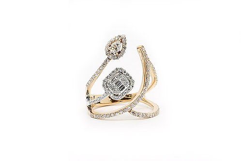 Multi Diamond Rose & White Gold Ring