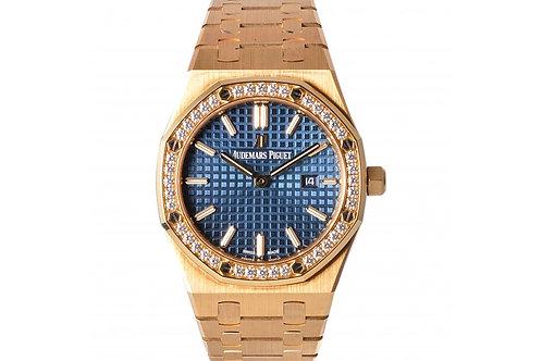 Audemars Piguet Royal Oak Blue Dial 33mm Yellow Gold & Diamonds
