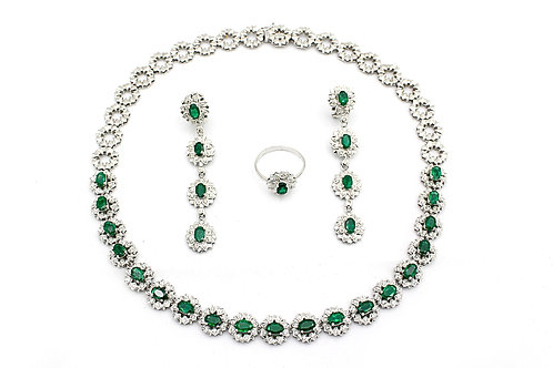 Emerald and Diamonds with White Gold Necklace, Earring and Ring