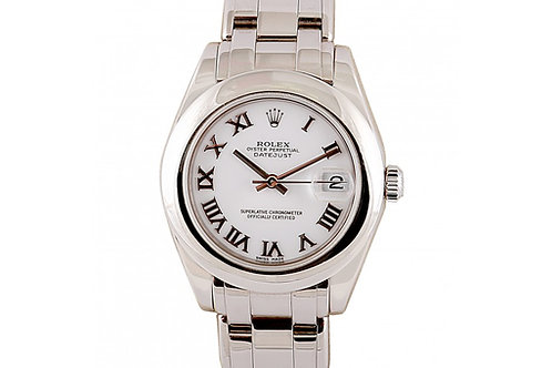 Rolex Pearlmaster Datejust White Roman Dial 34mm White Gold