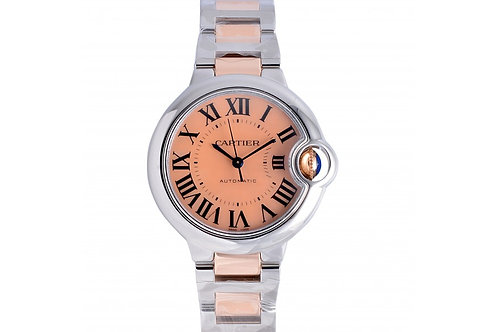 Cartier Ballon Bleu De Cartier Pink Mother of Pearl Roman Dial 33mm Steel & Rose