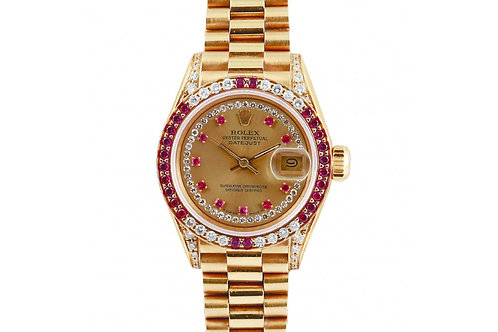 Rolex Datejust Yellow Gold Ruby and Diamonds 26mm
