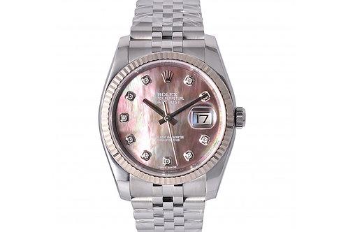Rolex Datejust Black Mother of Pearl Diamond Dial 36mm Steel & Diamonds