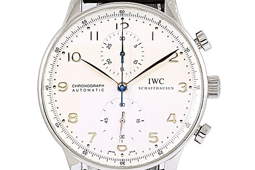 IWC Portuguese Chronograph Silver Dial Leather Strap 41mm