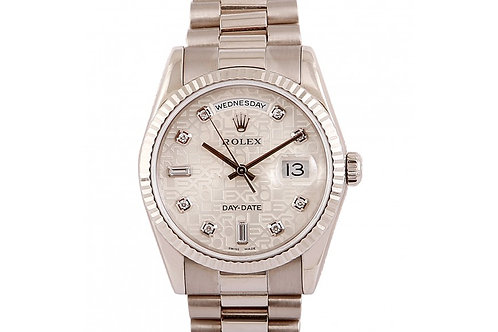 Rolex Day-Date Silver Jubilee Diamond Dial 36mm White Gold
