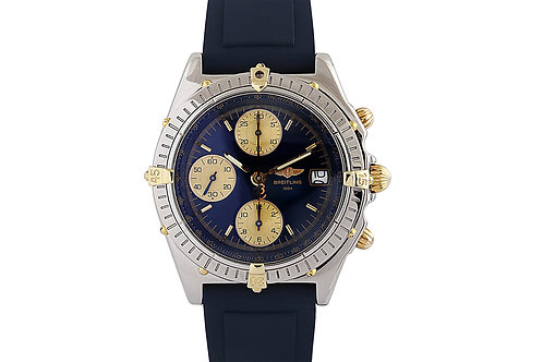 Breitling Chronomat Blue Dial 39mm Steel and Gold with Blue Rubber Strap
