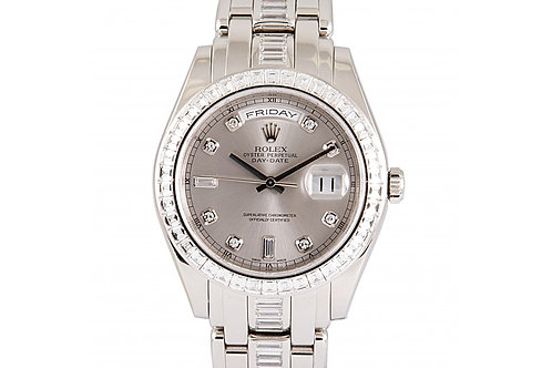 Rolex Oyster Perpetual Day Date Grey Diamond Dial 39mm Platinum