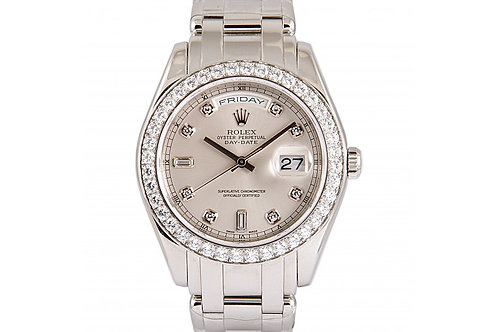 Rolex Day-Date Mother of Pearl Diamond Dial 38mm Platinum & Diamonds