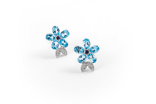 Cute Blue Topaz and Sapphire Flower Earring