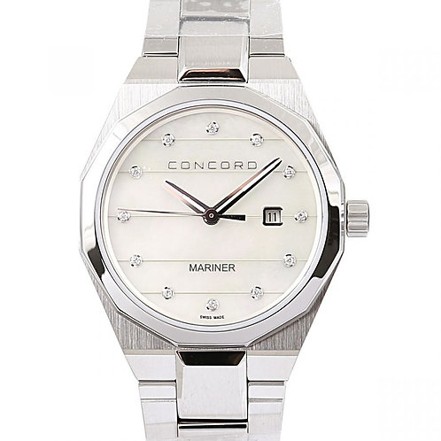 Concord Mariner White Mother of Pearl Diamond Dial 41mm Steel