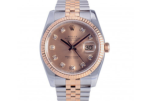 Rolex Datejust Champagne Diamond Dial 36mm Steel & Yellow Gold