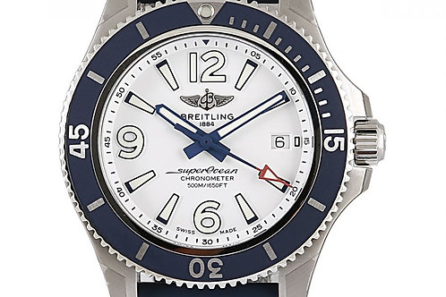 Breitling Superocean White Dial Blue Rubber Strap 42mm Steel