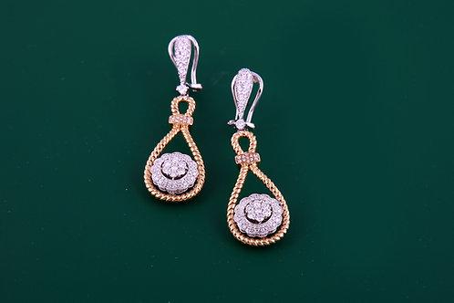 2 Tone Rope Design Diamond Earring