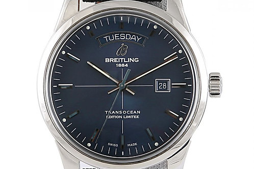 Breitling Transocean Day Date Limited Edition Blue Dial 43mm Steel