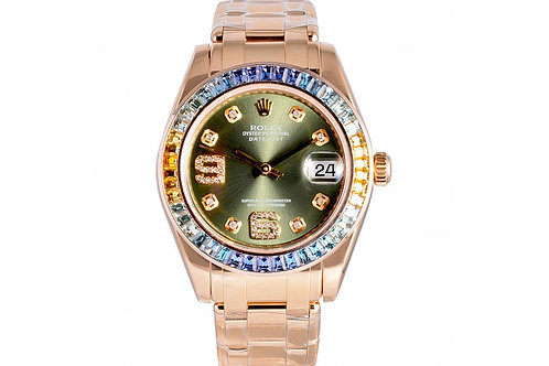 Rolex Datejust Pearlmaster Green Dial 34mm Yellow Gold