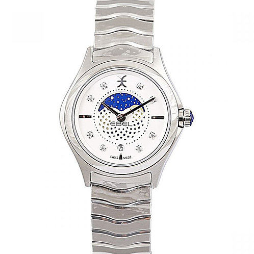 Ebel Wave White Diamond Dial Moonphase 30mm Steel