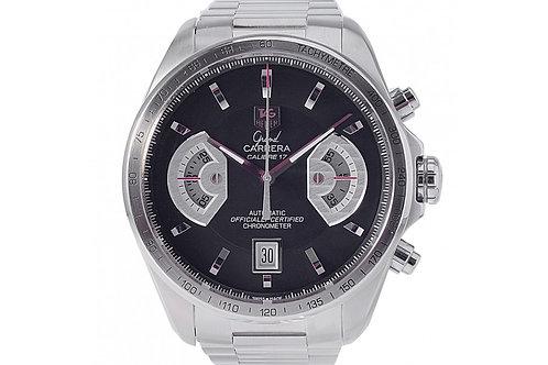 Tag Heuer Grand Carrera Chronograph Black Dial 43mm Steel