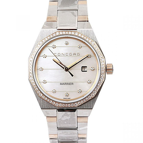 Concord Mariner White Mother of Pearl Diamond Dial 30mm Steel & Yellow Gold